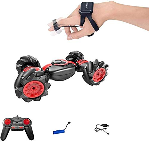 Drone-Clone Xperts Remote Control Car, 4WD Off Road RC Stunt Truck Toy, 360° Rotation Drift Wheels with Gesture Control Smartwatch (Red)