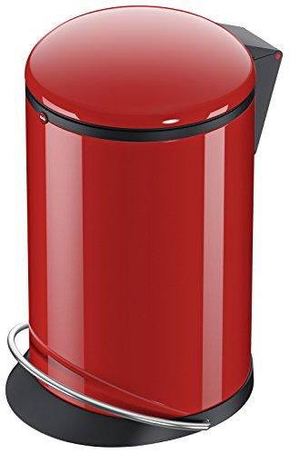 Hailo Harmony M 0515-040 Poubelle en tôle d'acier, 12 litres, large rail en métal, pince pour sac poubelle, amortissement du couvercle (Soft Close), rouge, fabriquée en Allemagne