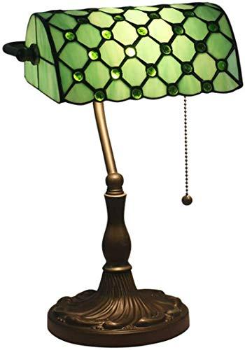 W&HH Lámpara de banquero mediterráneo Tiffany Style Beads de Cristal de Cristal Lámpara de Mesa de vidrieras Lámparas para la Cama de la Cama Dormitorio de la Sala de Estar,Verde