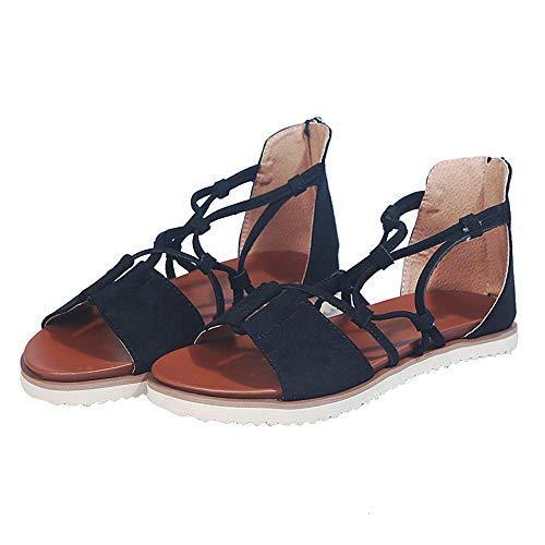 JFFFFWI Sandalias Mujer Cuña Estampado de Leopardo Sandalia de Cuero de Verano Correa de Tobillo con Tiras Zapatos de Hebilla de tacón bajo Tejido Sandalias de Punta Abierta de Fondo Grueso Damas, N