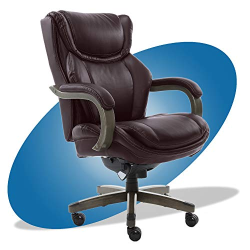 LaZBoy Big & Tall Executive Office Comfort Core Cushions, Ergonomic High-Back Chair with Solid Wood Arms, Bonded Leather, Coffee Brown