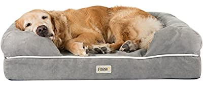 """Friends Forever Memory-Foam Orthopedic Dog Bed 100% Suede Removable Cover 4"""" Mattress Lounge Sofa Premium Prestige Edition 36"""" x 28"""" x 9"""" Pewter Grey Large"""
