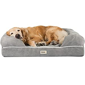 Friends Forever Orthopedic Dog Bed Lounge Sofa Removable Cover 100% Suede Mattress Memory-Foam With Bolster Rim Premium Prestige Edition Pewter Grey, XL 44 x 34″