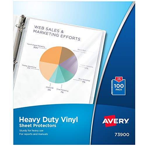 Avery 73900 Top-Load Vinyl Sheet Protectors, Heavy Gauge, Letter, Clear (Box of 100)