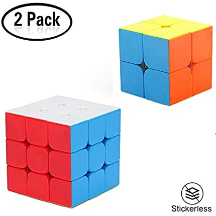 Yojoloin-Velocidad Paquete Cubo Mágico Speedcube Magic Set-2x2x2 3x3x3 Puzzle Cubos, Super-Durable Vivos ,Rompecabezas Cubos Juegos de Memoria Adultos(2 Pcs)