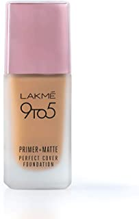 Lakme 9To5 Primer + Matte Perfect Cover Foundation, W180 Warm Natural, 25 ml