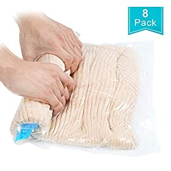 Qliver 8tlg. Set Travel Vacuum Bag for Rolling 8 Pieces Vacuum Storage Bag for Travel, Clothing, Blankets, Towels | Travel Vacuum Clothes Bag | No 3 Various Sizes | Transparent