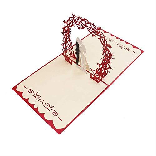 Wenskaarten BLTLYX 3d Pop wenskaarten Lasergesneden uitnodigingskaart Trouwkaarten Liefhebbers Ansichtkaarten Holle handgemaakte geschenken 15 * 15cm rood