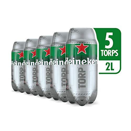 Heineken TORP Bariletto di Birra 5 x 2 Litri, Compatibile con il Distributore di Birra THE SUB