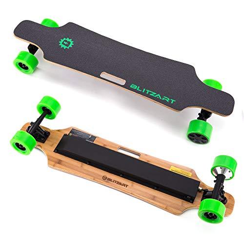 BLITZART Huracane 38' Electric Skateboard Longboard Motorized Electronic Hub-Motor 3.5' Wheels (Green)