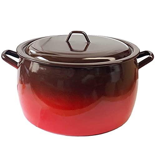 La Estrella - Olla abombada esmaltada en rojo 5 litros, diámetro 21 cm. Cazuela de acero clásica con tapa, apta gas, vitro, inducción, lavavajillas