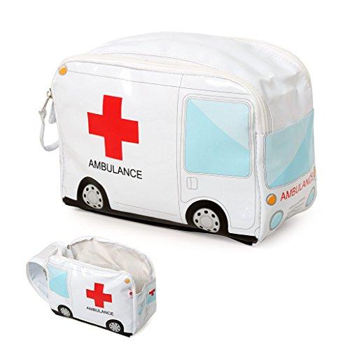 Balvi Medikamententasche Ambulance Farbe Weiß Medikamententasche um das Erste-Hilfe-Set unterzubringen Tragbare Tasche in Form eines Krankenwagens, um alle Medikamente auf Reisen stets bei Hand zu haben PVC 17 x 24 x 12 cm