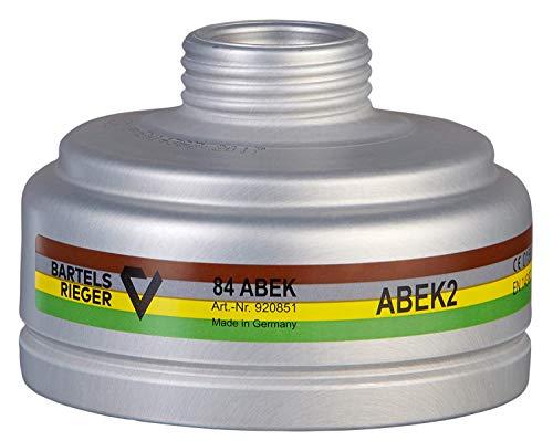 BartelsRieger A2B2E2K2 Gasfilter | Hochwertiger Atemschutz-Schraubfilter | Rd40 | ABEK Mehrbereichsfilter zum Schutz vor Lösungsmitteln, Ammoniak, Chlor