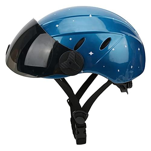 Estink Motorradhelm, Fahrradschutzhelm, PC-Schale Hochfest, Geeignet für Fahrräder(Blue and White Stars-Brown Lenses)