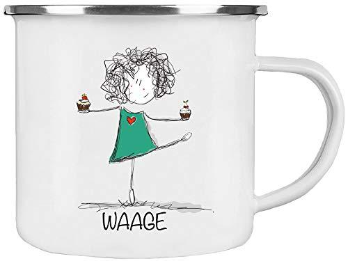 Cadouri Emaille Tasse STERNZEICHEN WAAGE Kaffeetasse Bürotasse Sprüchetasse - 300 ml