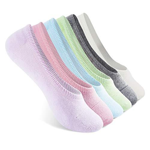 Vkele Sneaker Socken Füßlinge | Größe: 39 40 41 42 | Damen & Herren unsichtbar Kurze Socks Sneakers | Baumwolle | Pink Beige Grün Hellgraun Lila Blau | 6 Paar