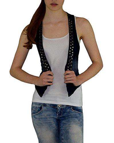 S&LU angesagte Kurze Damen-Jeansweste mit Nieten in verwaschener Used-Optik 34-42 (34, Jeansblau)