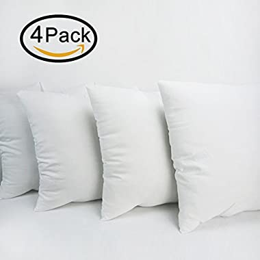 HIPPIH 4 Pack Pillow Insert - 16 x 16 Inch Hypoallergenic Decorative Square Sofa and Bed Pillow Form Inserts