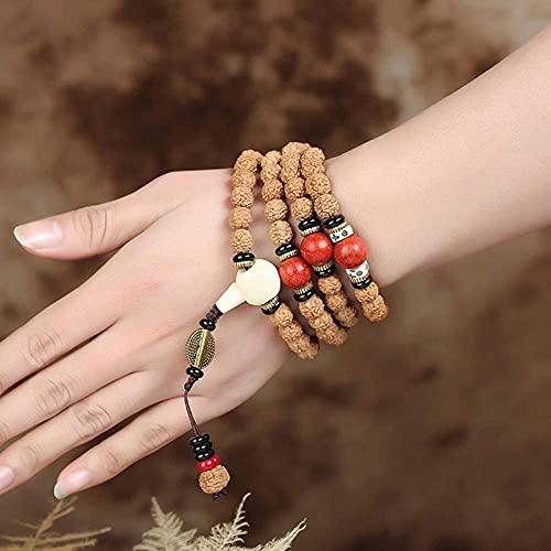 cakunmik Pulsera, 108 Perlas Pulsera Yoga Madera Oración Ora Mala Collar Budista Bodhi Pulsera Textura única