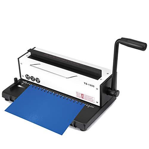 VEVOR Máquina de Encuadernación de Bobina Manual de 34 Agujeros, Máquina de Encuadernación de Libro TD-1200, Bobina en Espiral Perforadora de Papel Carpeta de Perforación para A4, Hecho de Metal