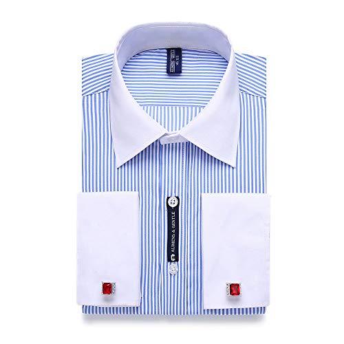WJFGGXHK Camicie Uomo,Camicia da Uomo Casual A Righe Blu Gemelli Francesi Camicia Elegante A Maniche Lunghe Colletto Bianco Stile Design Camicie da Uomo Plus Size Abbigliamento Classico Maschile, 4XL