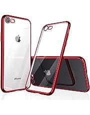 【Humixx】 iPhone8 ケース iPhone7ケース [ TPU ソフト ] [ ワイヤレス充電対応 ] [ 薄型 軽量 ] [ 耐衝撃 バンパー ] ( iPhone 7 , iPhone 8 , クリア ・ レッド )