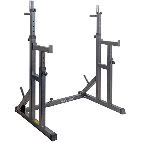 GYM MASTER Fully Adjustable Heavy Duty Squat Rack With Multi Position Spotter, Dip Bars & Weight Plate Holders
