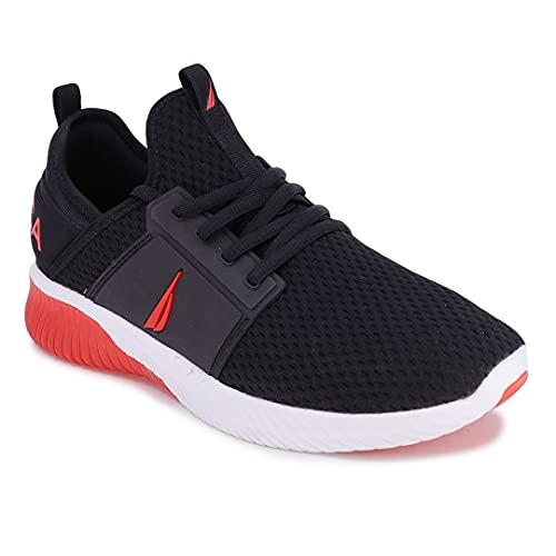 Nautica Men's Casual Fashion Sneakers-Walking Shoes-Lightweight Joggers-Rainey Sport-Black Red-10