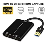 HDMI Capture,HDMI to USB 3.0,Full HD 1080P Live Video Capture Game Capture Recording Box,HDMI USB 3.0 Adapter Video and Audio Grabber for Windows, Mac OS and Linus System,Black,IF-LINK