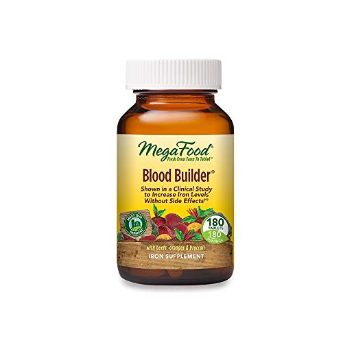 MegaFood, Blood Builder, Iron Supplement, Support Energy and Combat Fatigue without Nausea or Constipation, Non-GMO, Vegan, 180 Tablets