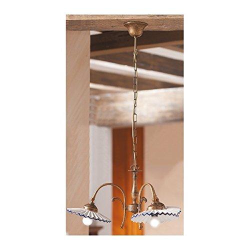 Lampe à Suspension 3 lumières en laiton avec des nuances en céramique, plissé, rétro-pays – Ø 58 cm - Verde