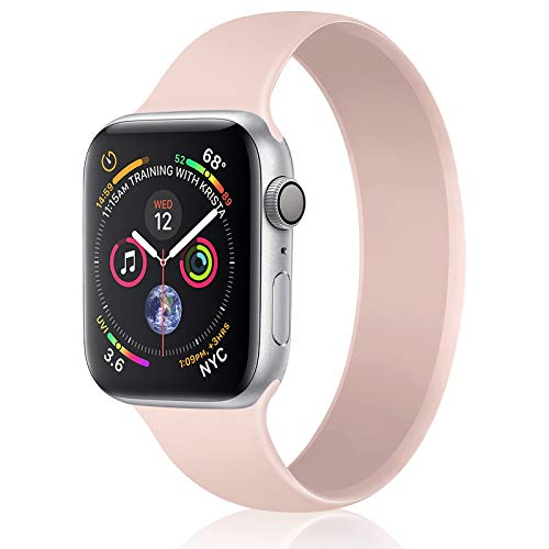Relting Pink Sand Solo Loop Compatible with Apple Watch Band 38mm 40mm 42mm 44mm, No Clasps or Buckles Sport Elastics Silicone Women Men Replacement Wristband for iWatch Series 6/SE/5/4/3/2/1 (42mm/44mm M, Silt)