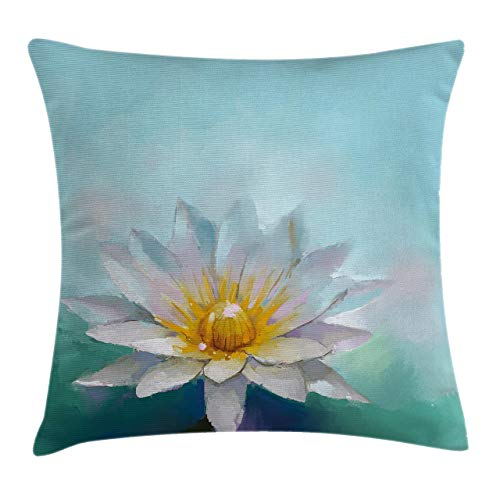 antoipyns Flower Throw Pillow Cushion Cover Detailed Impressionist Close up Drawing Lotus Like Daisies ling Herb Image Print Decorative Square Accent Pillow Case(18 x 18) Inch White Blue