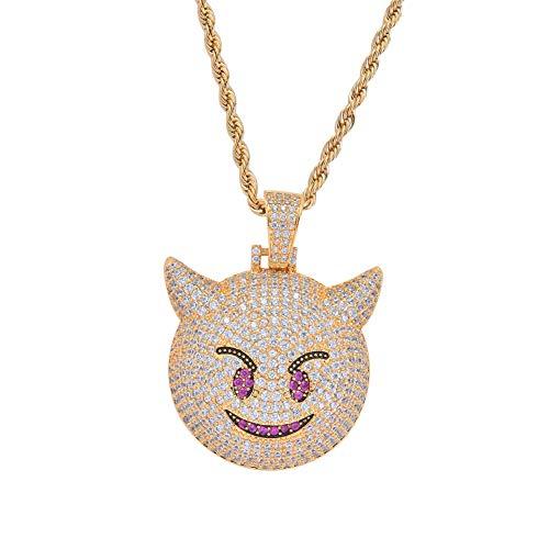 Moca Jewelry - Colgante de Emoji con diseño de pequeño Diablo, Chapado en Oro de 18 Quilates, circonitas cúbicas de imitación, Collar de Hip Hop para Hombres y Mujeres