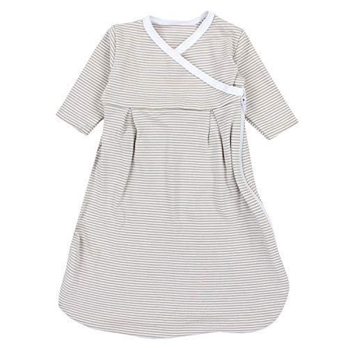TupTam Baby Unisex Langarm Innenschlafsack, Farbe: Streifenmuster Beige, Größe: 50-56