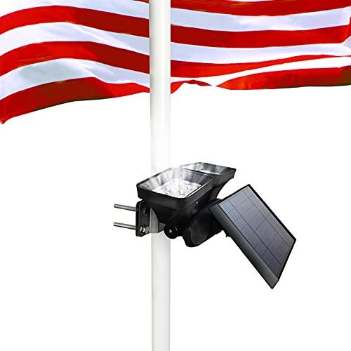 Solar Flag Pole Light, BLUEGUAN Dual Heads Flagpole Solar Light with 2 Brightness,Waterproof Flafpole Light Solar Powered Fits 1.2-3.4' Super Bright 12 LED Flagpole 100% Flag Coverage