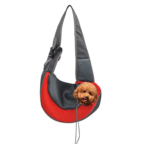 BELPRO Pet Sling for Small Dogs, Breathable Mesh Traveling Puppy Cat Carrier Sling Bag with Hands-Free, Adjustable Shoulder Strap for Outdoor and Travel RED