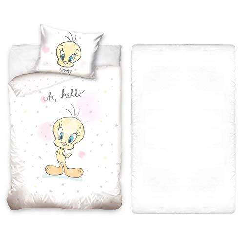 L.T.Preferita Disney Looney Tunes - Juego de ropa de cama para bebé, cuna, funda nórdica + funda de almohada + sábana bajera ajustable