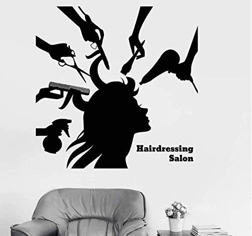 YFKSLAY Väggklistermärken och väggmålningar barberare shop vinyl väggdekal frisörsalong skönhet hår kvinna barbershop klistermärken frisörsalong konst väggmålning för butik 57 * 57 com
