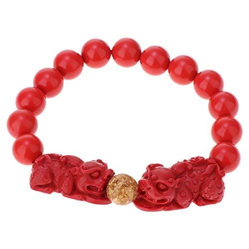 Colcolo Elegante Pulsera Elástica Red Cinnabar Beads Pixiu Ball Pulsera de Oración con Caja - Doble Pixiu 10mm