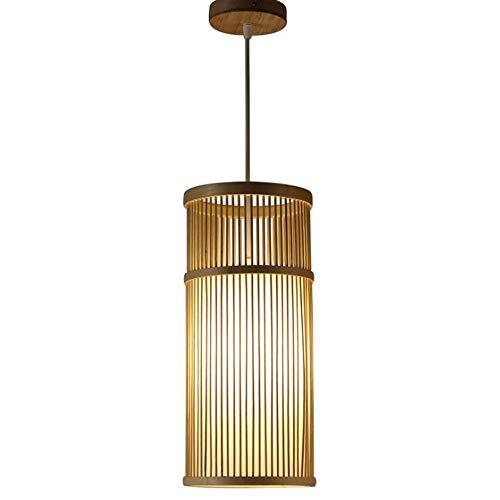 DLGGO Lámpara colgante de linterna retro de estilo japonés de una sola cabeza, pantalla de cilindro de bambú, lámpara de techo de la sala de estar del dormitorio Casa de té china Comedor Lámpara de ba