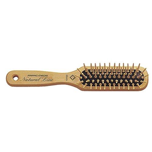 Natur-Haar-Bürste Holz Fripac-Medis Natural Line Länglich, 5-reihig,  zum täglichen Durchkämmen und Entwirren der Haare, abgerundete Borsten, antistatisch für kurze Haare