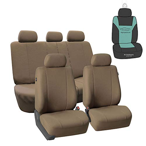 FH Group FB052115 Full Set Multifunctional Flat Cloth Car Seat Covers, Airbag Ready and Split, Taupe Color - with Gift - Universal Car, Truck, SUV, or Van