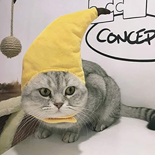 Secaden Funny Cat Banana Hat Small Dog Banana Headwear Pet Costume Accessories