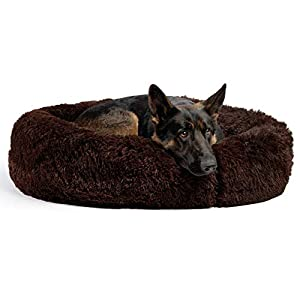 Best Friends by Sheri The Original Calming Donut Cat and Dog Bed in Shag Fur, Machine Washable, Removable Zippered Shell, for Pets up to 100 lbs – Large 36″x36″ in Dark Chocolate