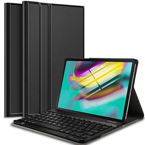 IVSO Tastatur Hülle für Samsung Galaxy Tab S5e T720/T725 10.5, [QWERTZ Deutsches], Ultradünn Ständer Schutzhülle mit magnetisch abnehmbar Tastatur für Samsung Galaxy TAB S5e 10.5 Zoll, Schwarz