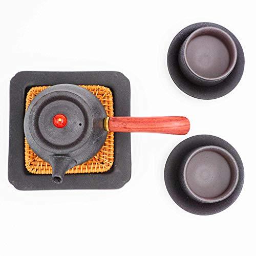 Edle japanische Kyusu Teekanne mit Zwei Tassen und Untersetzer | Kyusu Teekanne aus Keramik ideal für japanischen Tee