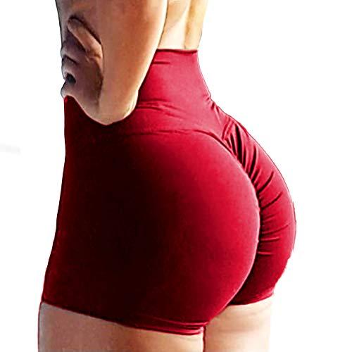 RIOJOY Women's Gym Running Shorts Scrunch Butt Booty Leggings Shorts Hot Pants, Red, M