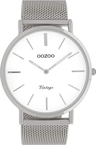 Oozoo Vintage Armbanduhr mit Edelstahl Milanaise Metallband 44 MM Weiß/Silberfarben C9900
