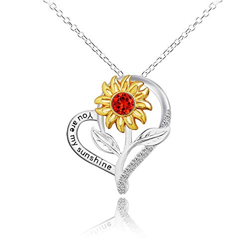 Makluce Inspirational Necklace, 2PCS Sunflower Necklace Heart Pendant You Are My Sunshine Pendant Jewelry Gifts For Birthday Christmas Valentines Day